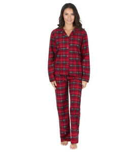 Ladies Soft Touch Thermal Check Pyjamas Set Red Navy Winter Warm ... c47fe596c