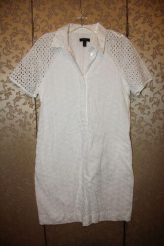 J. Crew White Eyelet Half Shirt Dress 2