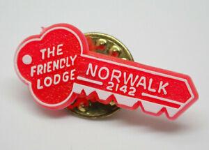 The Friendly Lodge Norwalk 2142 Key red Vintage Lapel Pin