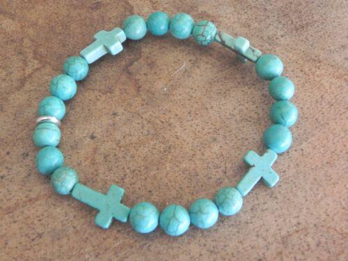 Turquoise howlite vermeil stretch bracelet