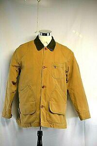 Vintage 90's Tommy Hilfiger Leather & Khaki Canvas Corduroy Collar Barn Field Coat Jacket Size XL