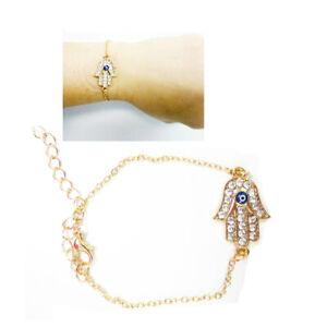 Gold Glück Armband Kabbala Hamsa Hand Teufelsauge Jüdisch Schutz Verstellbar