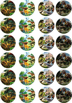Dinosaur Edible Cupcake / Fairy Cake Wafer Paper Toppers x 24 (N2)