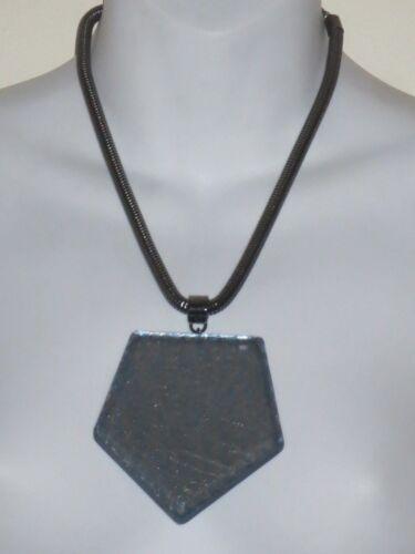 PONO Joan Goodman Gunmetal Snake Reflective Pendant Necklace $450 Metallic