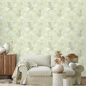 Ayla-Hares-Papier-Peint-en-Vert-Pale-par-Holden-90881-Fleurs-Sauvages-Foret