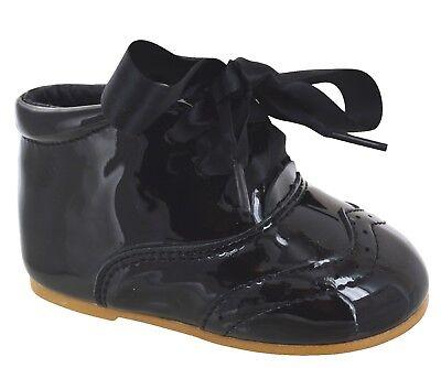 Bebé Infantil Cordón Cinta Fiesta Boda Charol Moño ESPAÑOL Zapatos Talla