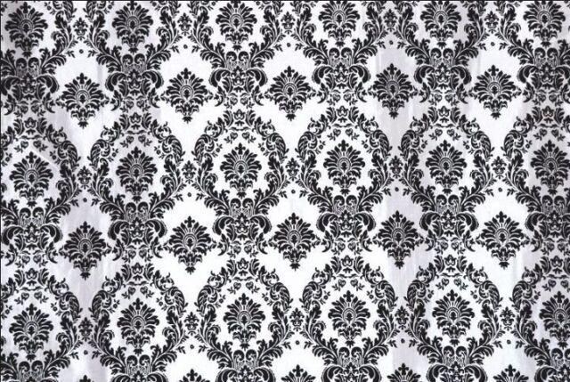 """10 Yards 30ft Black White Flocking Damask Taffeta Fabric 58/"""" Flocked Velvet"""