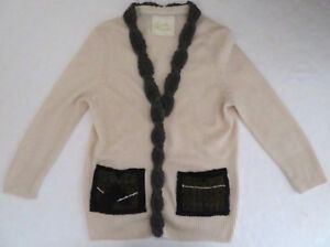 Wendi Reed 100 Cashmere Cardigan Sweater M Plaid Pockets Rare Ebay