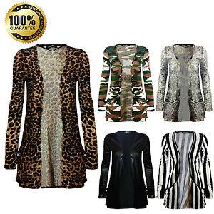 New Animal Army Printed Ladies Open Front Pockets Boyfriend Cardigan Top Uk 8 26 Ebay
