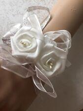 Ivory Ribbon Roses Flower Girls Bridesmaid Wrist Corsage Bracelet