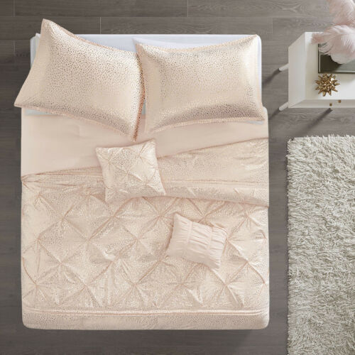 Beautiful White Silver Pink Gold Pleated 5 pcs Comforter Full Queen set New
