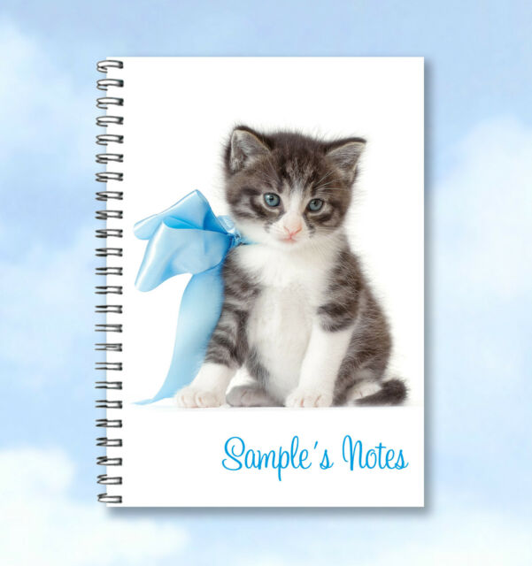 Personalised A5 Printed Notebook Cute Kitten ADD ANY NAME  free delivery