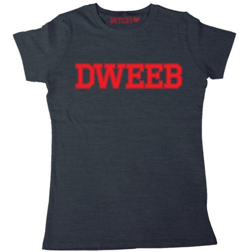 DWEEB WOMENS PRINTED T-SHIRT RETRO GEEK NERD SLOGAN TEE