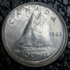 1963 CANADA - 10 CENTS - SILVER - ERROR OFF-STRUCK & NO COLLAR - Rare - NCC