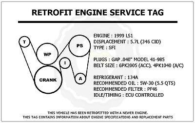 1999 ls1 5 7l trans am retrofit engine service tag belt routing diagram decal ebay 5.3l belt diagram ls1 gto belt diagram #11