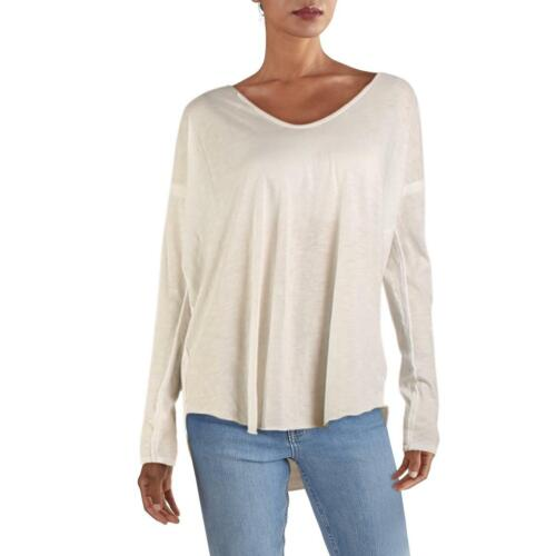 We The Free Womens Sienna White Scoop Neck Snap Detail T-Shirt Top L BHFO 1361