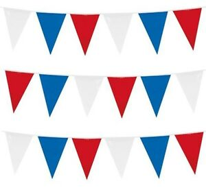 10m Triangle Fabric Red White Blue 20 Flags Bunting Party Enevts Celebrations