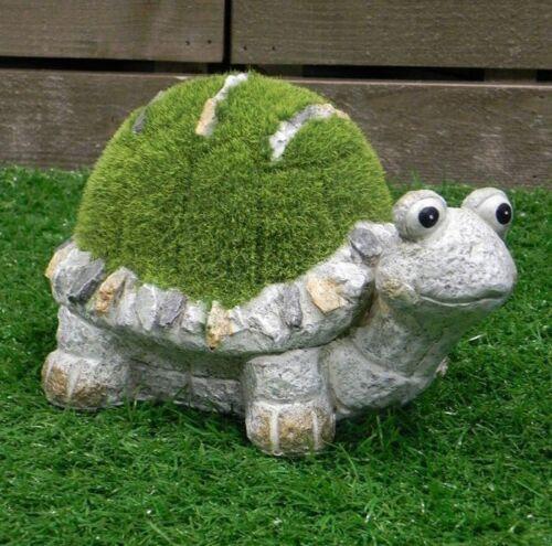 Green Flock On Grey Stone Flocked Turtle Ornament Garden