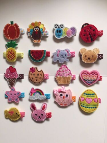 Lot of18 Baby Girls Embroidered Fabric Hair Clip Accessories for Holidays//Party