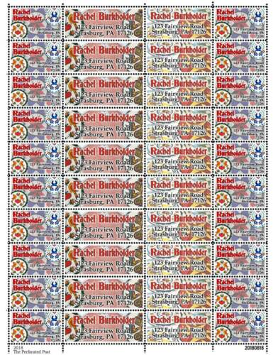 Custom Return Address Stamps Sheet of 40 Gummed /& Perforated HEX Signs
