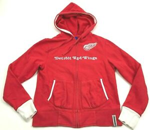 Reebok Detroit Red Wings Hoodie Womens S Size Small Full Zip Sweater Embroidered