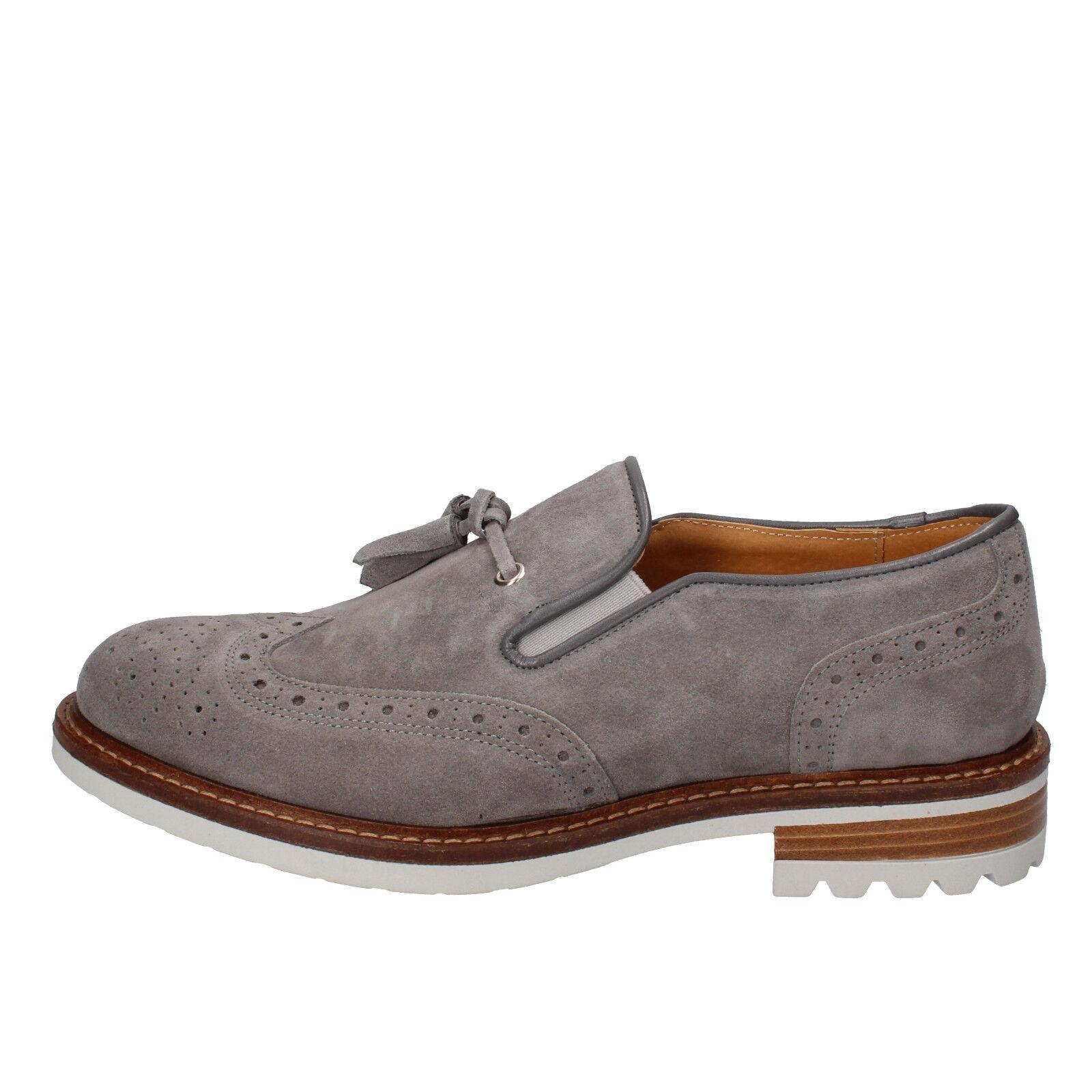 Mens shoes J. BREITLIN 9 (EU 43) loafers slip on grey suede AB662-E