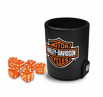 Harley-Davidson® Bar /& Shield Black Felt Dice Cup w// 6 Orange Dice 651D