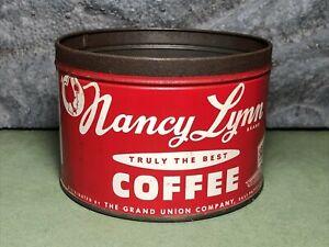 Vintage Nancy Lynn | Grand Union | Coffee Can | 1 lb | No Lid | Empty | RARE