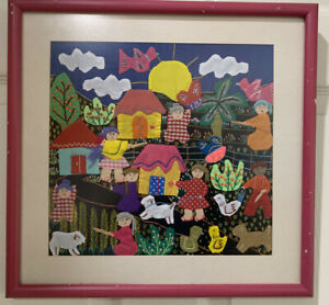 Vtg-South-American-Folk-Arpillera-Fabric-Applique-Framed-Village-Farm-Hand-Made