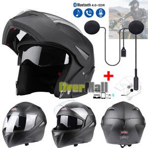 DOT-Matte-Black-Full-Face-Motorcycle-Helmet-Modular-Flip-Up-Dual-Visor-Bike-Race