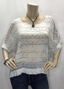 New-Cloth-amp-Stone-Anthropologie-Medium-Boxy-Dolman-Sheer-Top-Shirt-Blouse