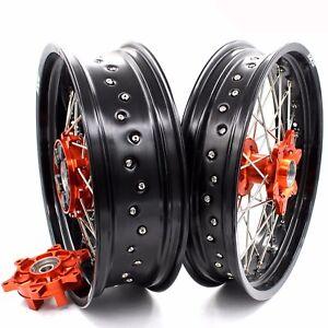 Details about 3 5/5 0*17 Supermotard Wheels Set For Ktm 690 SMC Enduro R  Orange Cush Drive Hub