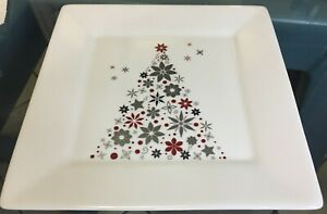Food-Network-Holiday-Tree-10-25-034-Square-Dinner-Plate-Linzer-Red-Silver-Christmas