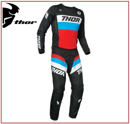 COMPLETO MOTO CROSS QUAD ENDURO THOR PULSE RACER BLACK RED BLUE 2021