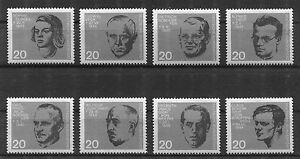 Bund-431-438-sauber-postfrisch-BRD-Block-3-BEM-Blockeinzelmarken-MNH