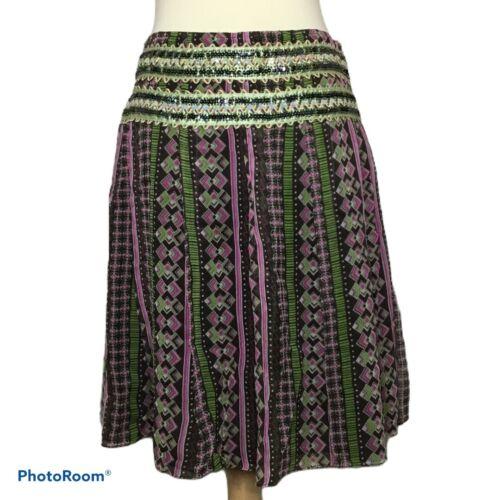 Free People Silk Skirt Beaded Sequin 4 Boho Gypsy
