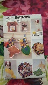 Butterick-Pet-Accessories-Pattern-6797-Stockings-Frames-Beds-Raincoats-UNCUT