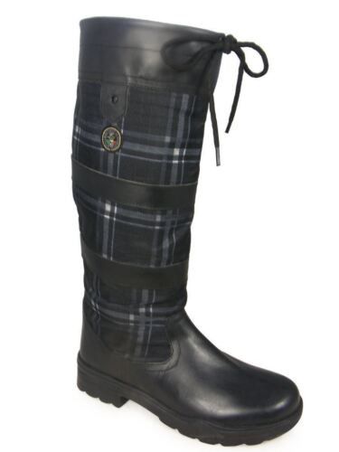 HKM Checker Fashion Non Slip Waterproof Long Walking Riding Leather Country Boot