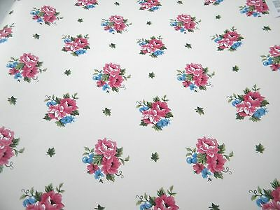 Pink Floral Wallpaper Pink Blue Flowers Double Roll Imperial Wallcovering Wall
