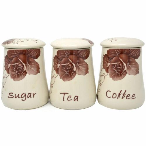 3pc étanche cuve floral céramique de stockage Pots Récipient Thé Café Sucre Jar