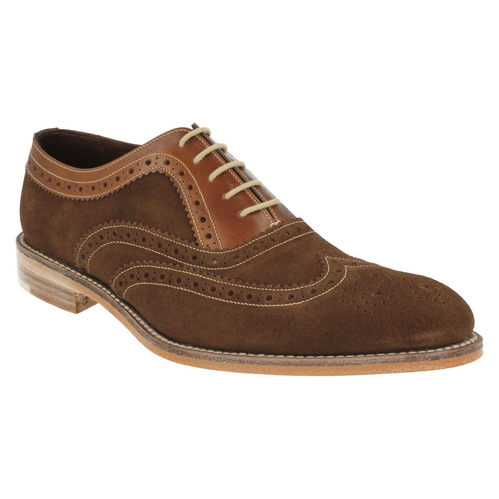 Para Hombre Loake Floyd Oscuro Gamuza Cuero Inteligente Formal Zapatos Brogue