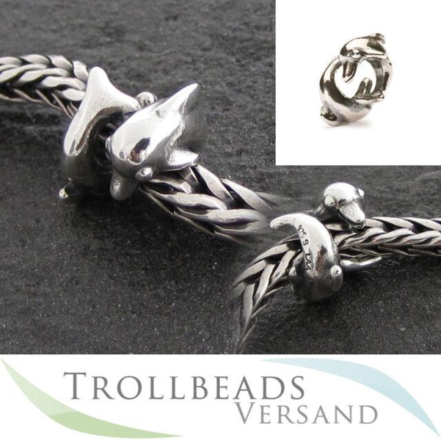 TROLLBEADS Silber Bead Spielende Delphine TAGBE-00233