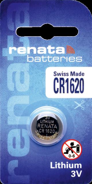 1 x Renata CR1620 Batteries, 3V Lithium, 1620
