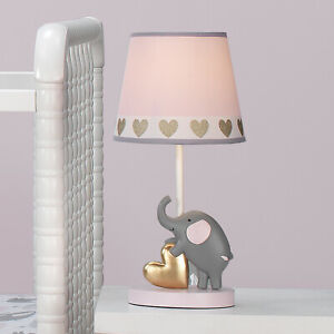 Details About Nursery Lamp Shade Bulb Eloise Elephant Hearts Pink Gray Animals Baby Light
