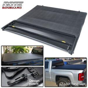 4-Fold Soft Tonneau Cover For 2007-2013 Chevy Silverado/GMC Sierra 6.6 Ft Bed