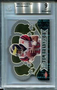 2000-Pacific-Crown-Royale-Football-110-Tom-Brady-Rookie-Card-Graded-BGS-Mint-9