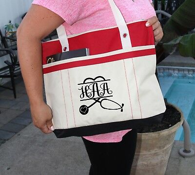personalized Heavy tote bag Nurse Stethoscope Heart Personalized Bag zippered