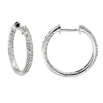 NATURAL 14K WHITE GOLD PAVE ROUND DIAMOND INSIDE OUT HOOPS HOOP EARRINGS