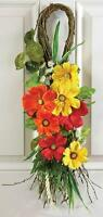 Red Orange Yellow Tropical Flowes Teardrop Twig Swag Wall Door Decoration 26.5l
