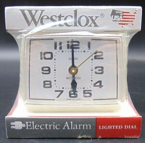 Westclox Electric Alarm Clock SEALED Lighted Dial Dialite 22190 Bold II White